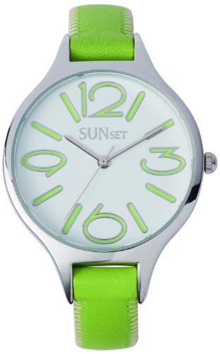 Sunset 2344 Damen Armbanduhr Quarz Analog Weisses Ziffernblatt Armband Leder gruen