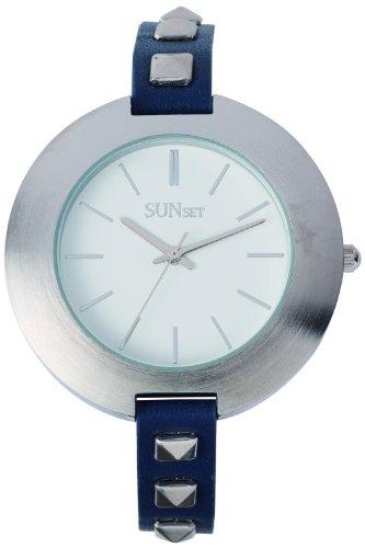 Sunset 2348 Damen Armbanduhr Quarz Analog Weisses Ziffernblatt Armband Leder marineblau