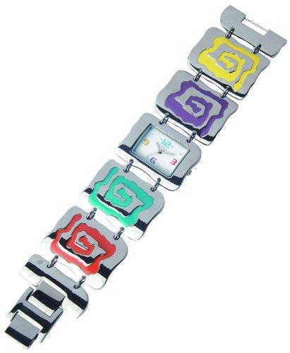 Sunset 2367 Damen Armbanduhr 045J699 Analog weiss Armband Metall mehrfarbig