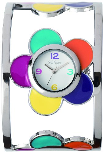 Sunset 2380 Damen Armbanduhr 045J699 Analog weiss Armband Metall mehrfarbig