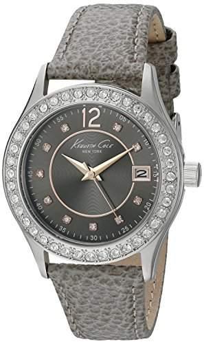 Kenneth Cole Damen-Armbanduhr Armband Leder Gehaeuse Edelstahl Quarz Zifferblatt Grau Analog 10020852