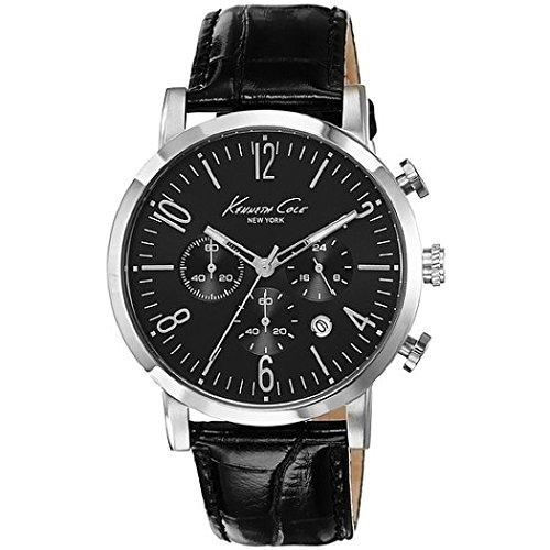Armbanduhr Chronograph KENETH COLE N Y schwarzes Zifferblatt Stoppfunktion Datum Durchm 44 mm Lederband