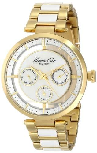 Kenneth Cole New York Womens KC4988 Transparency Round Multi-Function Transparent Yellow Gold Bracelet Watch
