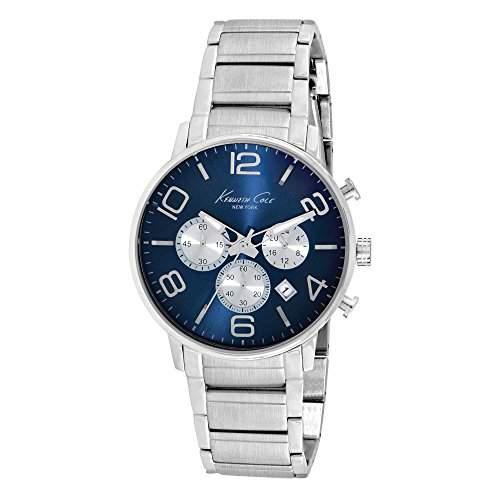 Kenneth Cole New York Herren Armbanduhr Sport Mens Silver Blau Edelstahl