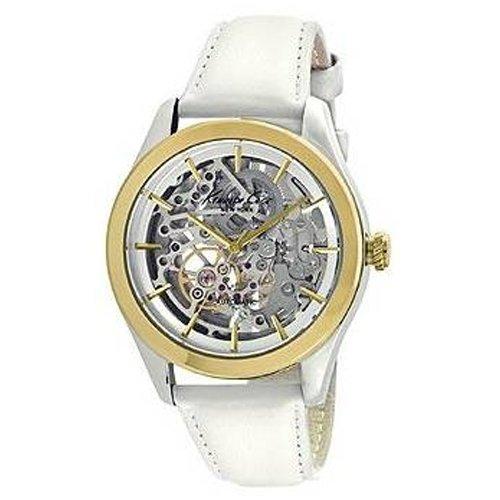 Kenneth Cole Cole New Damen Armbanduhr 32mm Armband Leder Weiss Automatik Zifferblatt Silber 10025558