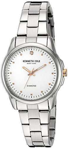 Kenneth Cole 38mm Armband Edelstahl Gehaeuse Quarz Zifferblatt Weiss Analog 10026478