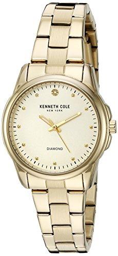 Kenneth Cole Damen Armbanduhr 32mm Armband Edelstahl Gold Gehaeuse Batterie Zifferblatt Beige 10026480