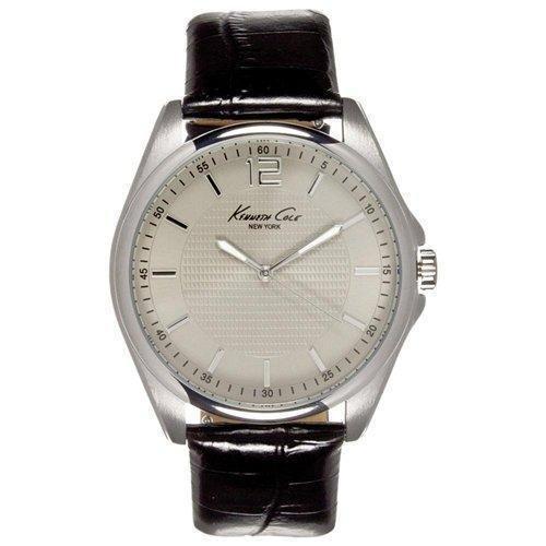 Kenneth Cole Herren 42mm Schwarz Leder Armband Edelstahl Gehaeuse Uhr KC5172
