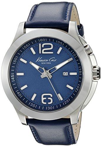 Kenneth Cole Cole 45mm Armband Leder Blau Gehaeuse Edelstahl Quarz Analog 10022556