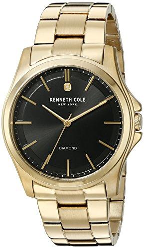 Kenneth Cole New York Herren Diamond Rock Out Quarz Edelstahl Kleid Uhr Farbe goldfarbenem Modell 10027421