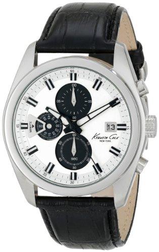 Kenneth Cole New York Mens KC8041 Dress Sport Round Chronograph Black Strap Analog Watch