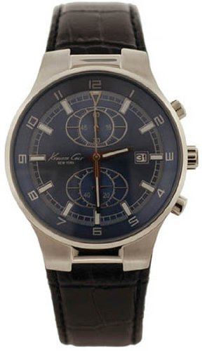 Stainless Steel Quartz Brown Leather Strap Chronograph Blue Dial