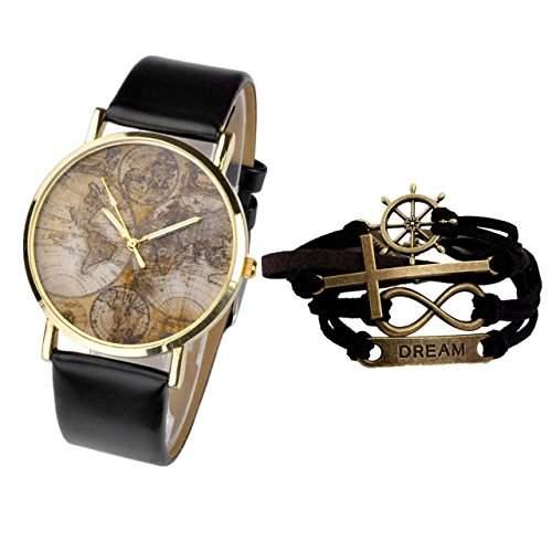 JSDDE Uhren,Vintage Weltkarte Quarzuhr Lederausstattung Armabnduhr Plus Infinity Wickelarmband, M?dchen Damen Top Geschenk,Schwarz