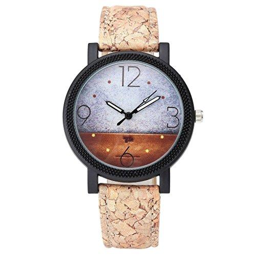 JSDDE Uhren Damen Retro Stil Abstrakte Bild Armbanduhr Vintage Damenuhr Holz Kork Muster PU Lederband Analog Quarzuhr