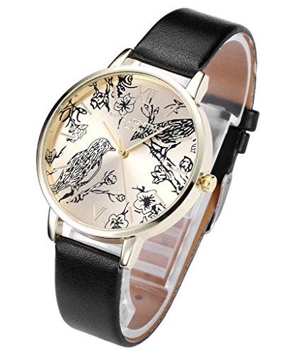 JSDDE Uhren Vintage Blumen Vogel Armbanduhr Gold Basel Stil Quarz PU Lederband Analog Quarzuhr Schwarz