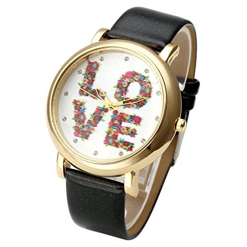 JSDDE Uhren Vintage Blume LOVE Basel Stil Quarzuhr Lederarmband Uhr Top Watch Schwarz