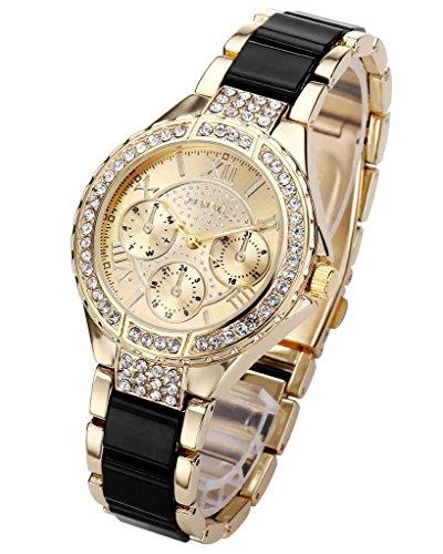 JSDDE Uhren XL mit Strass Business Uhr Drei unecht Chronograph Designer Analog Quarzuhr Schwarz Gold