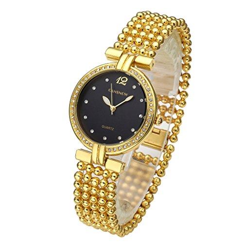 JSDDE Uhren Elegant Frau Damen Armreif Armbanduhr Strass Fuenfreihig Perlen Band Analog Qaurzuhr Gold Schwarz