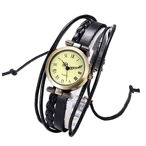 JSDDE Uhren Vintage Damen Armbanduhr Bronze Rund Damenuhr Gewebte Wickelarmband Lederarmband Analog Quarz Uhr Schwarz