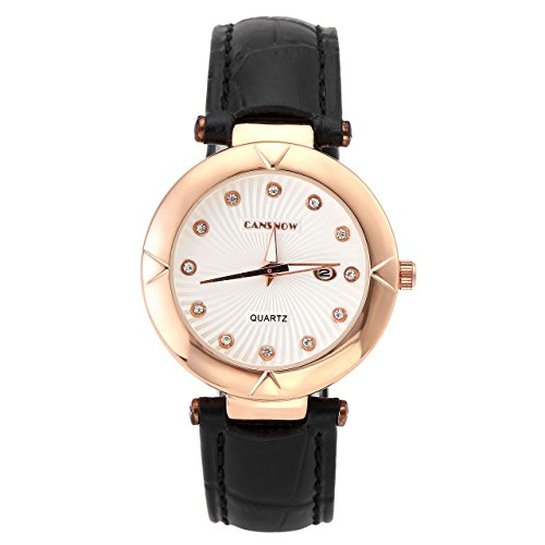 JSDDE Uhren Business Simpel Design Armbanduhr mit Strass Kalenderuhr Klassisch Echtleder Band Analog Qaurzuhr Cansnow0732 Rosegold