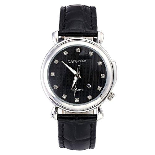 JSDDE Uhren Damen Business Gitter Strass Armbanduhr Kalenderuhr Echt Lederarmband Simpel Analog Qaurzuhr Cansnow0742 Schwarz