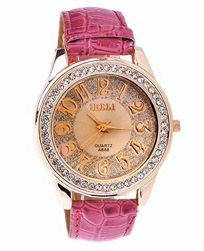 JSDDE Uhren Luxus Strass Kristall Kunstleder Rosegold Analog Quarzuhren Kleid Uhr Rosa Pink