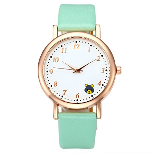 JSDDE Uhren Fashion Cute Kleiner Baer Armbanduhr PU Lederband Rosegold Maedchen Analog Quarzuhr Mintgruen