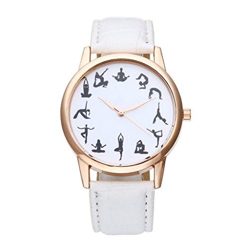 JSDDE Uhren Fashion 12 Schwarz Yoga Muster Skala Armbanduhr PU Lederband Damenuhr Rosegold Analog Quarzuhr Weiss
