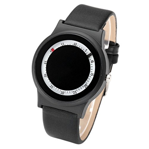 JSDDE Uhren Einfach Armbanduhr Leuchtzifferblatt PU Lederband Analog Quazruhr Schwarzes Loch Design Uhren Schwarz