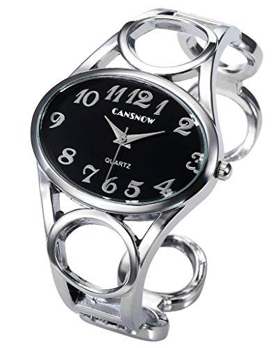 JSDDE Uhren Chic Manschette Oval Spangenuhr Frau Analog Quarz Uhr Armbanduhr Schwarz Silber