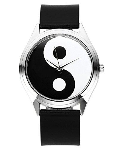 JSDDE Uhren Casual Armbanduhr Tai Chi Yin und Yang Muster Quarz Uhr Paaruhren Freundschafts Partner Uhren JSDDE5909