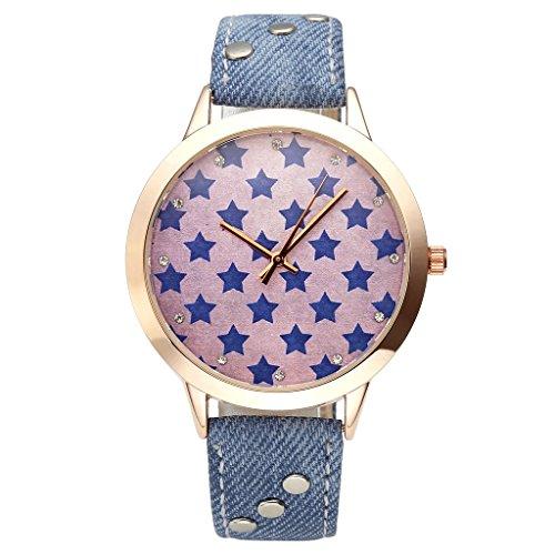 JSDDE Uhren Elegant Damen Armbanduhr Blau Stern Zifferblatt Damenuhr Jean Kunstleder Analog Quarzuhr Kleid Armbanduhr