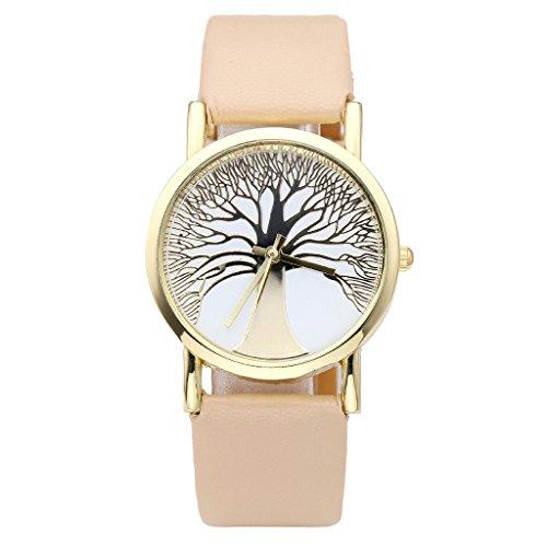 JSDDE Uhren Damenmode Gold Baum des Lebens Muster Armbanduhr Damenuhr Faux Lederarmband Analog Quarzuhr Beige