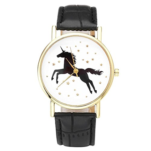 JSDDE Uhren Damenmode Schwarz Einhorn Armbanduhr Kunstleder Band Golden Stern Analog Quarzuhr Schwarz