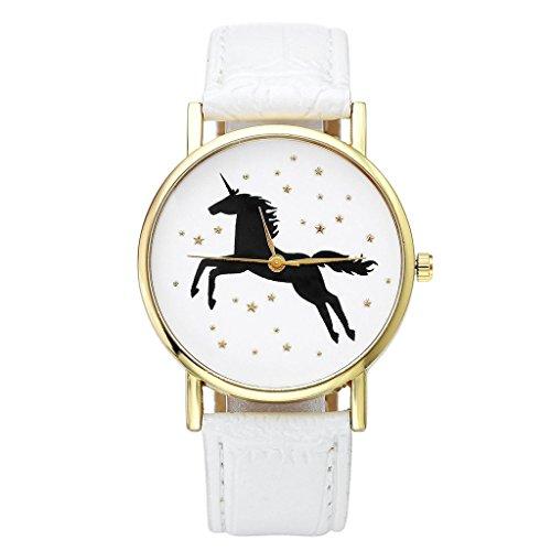 JSDDE Uhren Damenmode Schwarz Einhorn Armbanduhr Kunstleder Band Golden Stern Analog Quarzuhr Weiss
