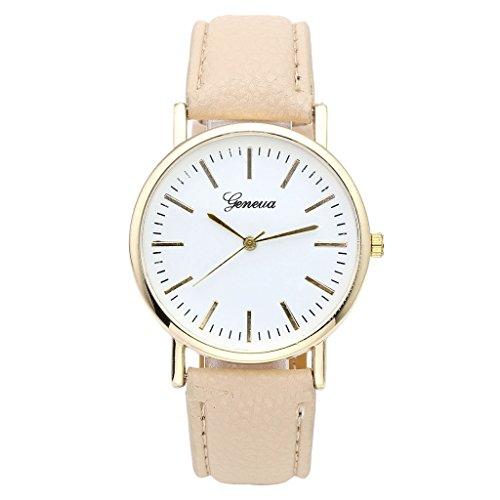 JSDDE Uhren Eelgant Genf Damenmode Armbanduhr Faux Leder Lederarmband Damenuhr Gold Skala Analog Qaurzuhr Beige