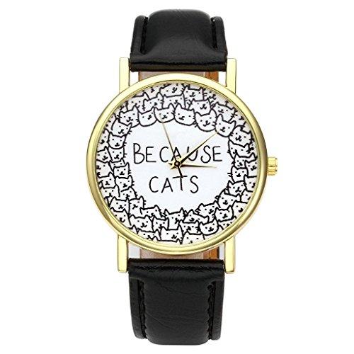 JSDDE Uhren Damenmode Lieblich Katze Armbanduhr PU Lederband Damenuhr BECAUSE CATS Analog Quarzuhr Schwarz