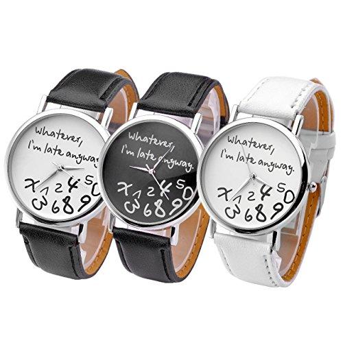 JSDDE Uhren Vintage Damenmode Whatever Im late anyway Graviert Illusion Damenuhr Quarzuhr Armbanduhr Set 3pcs