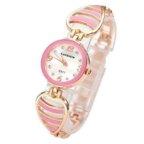 JSDDE Uhren Elegant Hollow Herz Armreif Armbanduhr Damenuhr Analog Qaurzuhr Armband Uhr mit Strass E977 Pink
