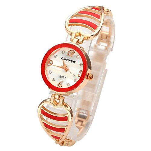 JSDDE Uhren Elegant Hollow Herz Armreif Armbanduhr Damenuhr Analog Qaurzuhr Armband Uhr mit Strass E977 Rot
