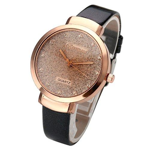 JSDDE Uhren Elegante Damen Armbanduhr Braunglas Glitzer Dial XS Slim PU Leder Band Ladies Dress Analog Quarzuhr Schwarz