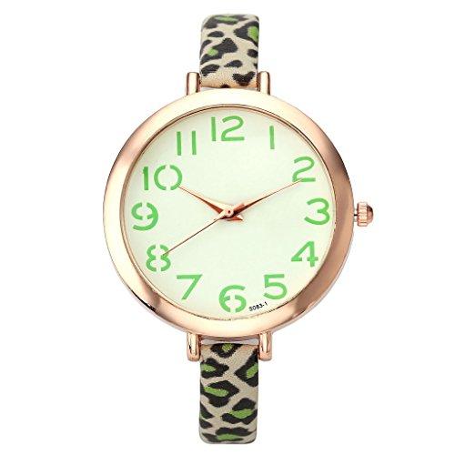 JSDDE Uhren Elegante Casual Armbanduhr XS Slim Leopard Lederarmband Analog Quarzuhr Minimalismus Gruen
