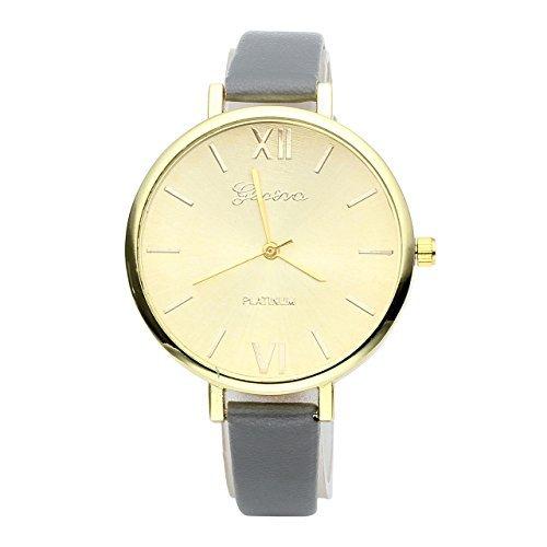 JSDDE Uhren Genf Elegante Damen Armbanduhr XS Slim PU Lederarmband Ladies Dress Analog Quarzuhr Minimalismus Damenuhr Grau