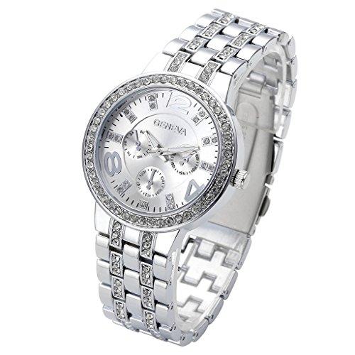 JSDDE Uhren Klassisch unecht Chronograph Optik Unisex Armbanduhr Strassstein Design Edelstanl Analog Quarzuhr Schwarz