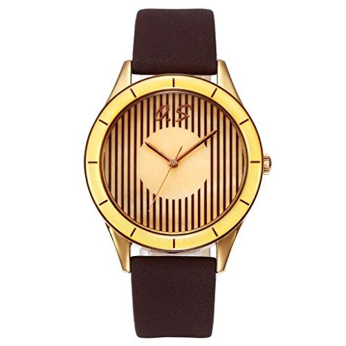 JSDDE Klassische Damen Fashion Streifen Zifferblatt Armbanduhr Echtleder Band Analog Quarzuhr Kaffee