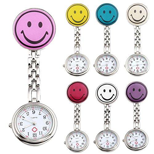 JSDDE Uhren 7x Krankenschwester FOB Uhr Rund Laecheln Emoticon Damen Herren Schwesternuhr Taschenuhr Quarzuhr Uhren Set