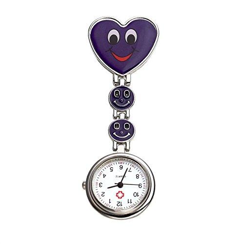 JSDDE Uhren Krankenschwester FOB Uhr Herz Laecheln Emoticon Damen Maedchen Schwesternuhr Taschenuhr Quarzuhr Lila
