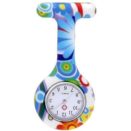 JSDDE Uhren Krankenschwester FOB Uhr Damen Silikon Tunika Brosche Taschenuhr Analog Quarzuhr Gruen Blau Muster