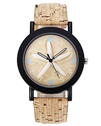 JSDDE Uhren Vintage Damen Seestern Retro Stil Holz Muster Kunstleder Band Analog Quarzuhr