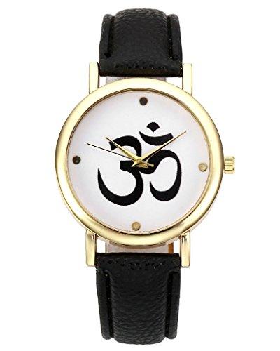 JSDDE Uhren Modische Sanskrit OM Symbol Muster Quarz Uhr Freundschafts Lederband Armbanduhr Schwarz